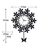 Creative art clock clock mute simple stylish modern swing round the living room battery home clocks,20 inch,Black