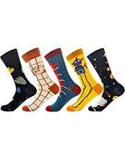 TFun 5 Pack Mens Cool Colorful Novelty Design Comfort Cotton Casual Crew Dress Striped Socks