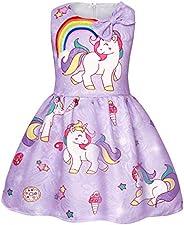 AmzBarley Unicorn Dress Girls Party Princess Bow Tie Sleeveless Kids Outfit