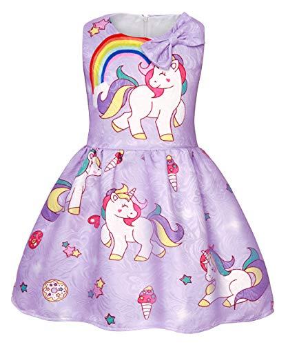 Cotrio Unicorn Dress Rainbow Sleeveless Casual Dresses for
