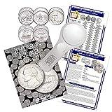 Jefferson Nickel Starter Collection Kit, Part Two, H.E. Harris [2681] Jefferson Nickel Folder Vol. 3, Westward Journey Nickel Set, Magnifier & Checklist, (4 Items) Great Start for Beginner Collectors