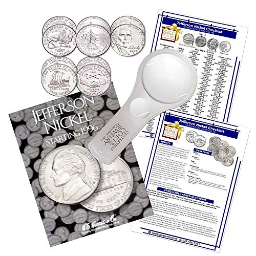 Jefferson Nickel Starter Collection Kit, Part Two, H.E. Harris [2681] Jefferson Nickel Folder Vol. 3, Westward Journey Nickel Set, Magnifier & Checklist, (4 Items) Great Start for Beginner - Mintage Nickel Jefferson
