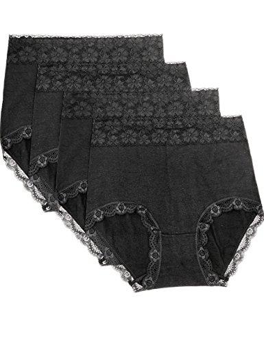 (Wetopkim Women Cotton Underwear Tummy Control Briefs Solid Black Pack 4)