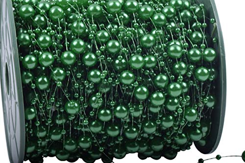 KAOYOO 200 Feet Artificial Pearls String Beads Chain Garland Flowers Wedding Party Decoration (Green Beaded Garland)