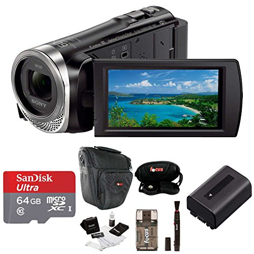 Sony HDR-CX455 Handycam Full HD 1080p Camcorder w/Lithium Ion Battery & 64 GB Micro SD Card Bundle -  ASONHDRCX455BK2