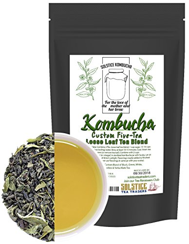 Custom Five-Tea Loose Leaf Kombucha Tea Blend (8 ounces); Handblended Custom Blend of Black, Green, White, Rooibos & Yerba Mate Tea for Brewing Kombucha (5-Tea Special Blend) - Five Leaves