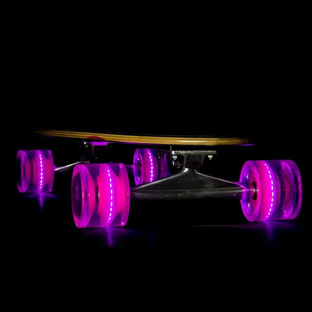 with ABEC-7 Carbon Steel Bearings for Glow-in-The-Dark 69mm 78a LED Light-Up Longboard Wheels Sunset Skateboard Co All Ages /& Skill Levels Skating Fun with No Batteries Required 4-Pack