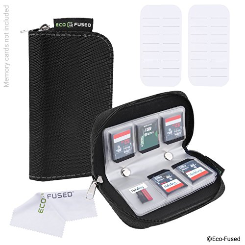 Memory Card Case - 2 Pack - Fits up to 44x SD, SDHC, Micro SD, Mini SD and 4x CF - Holder with 22 Slots (8 Pages) - For Storage and Travel - Microfiber Cleaning Cloth and Labels Included - Black (2x)