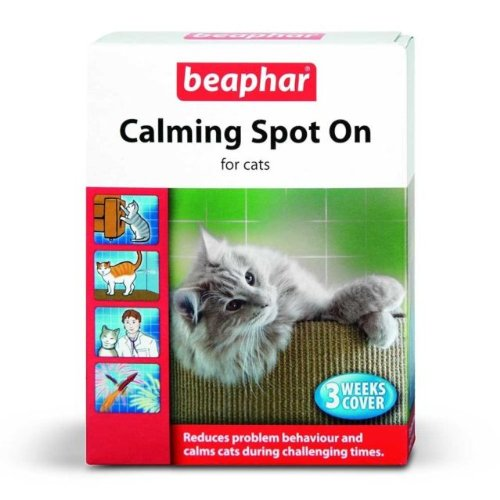 Beaphar Calming Spot On Beruhigungsmittel für Katzen, 3-Wochen-Packung, reduziert Verhaltensprobleme, beruhigt