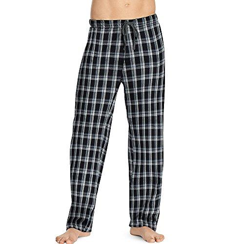 Hanes Mens ComfortSoft Cotton Printed Lounge Pants - Black/Grey Plaid, S ()