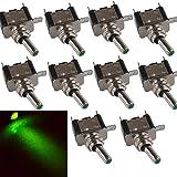 E Support™ 12V 20A AMP Green LED Light Rocker Toggle Switch SPST ON/OFF Car Motor Pack of 10