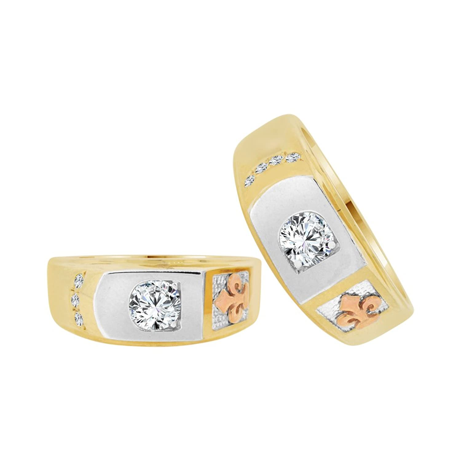 14k Tricolor Gold, His & Her Duo 2 Piece Matching Bands Ring Set Created CZ Crystals