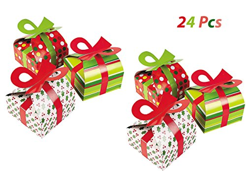 3D Christmas Gift Boxes With Bow - Party Favor & Goody Bags & Paper Goody Bags & Boxes; 24 Pack - Boxes Bags Bows