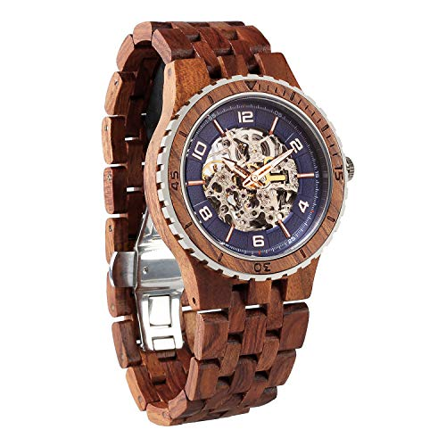 (Wilds Wood Watches Premium Eco Self-Winding Wooden Wrist Watch for Men, Natural Durable Handcrafted Gift Idea for Him)
