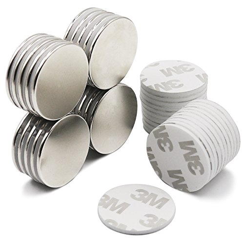 Strong Neodymium Disc Magnets with Double-Sided Adhesive, Powerful, Permanent, Rare Earth Magnets. Fridge, DIY, Building, Scientific, Craft, and Office Magnets, 1.26'' D x 0.08'' H - Pack of 20 by LOVIMAG (Image #1)