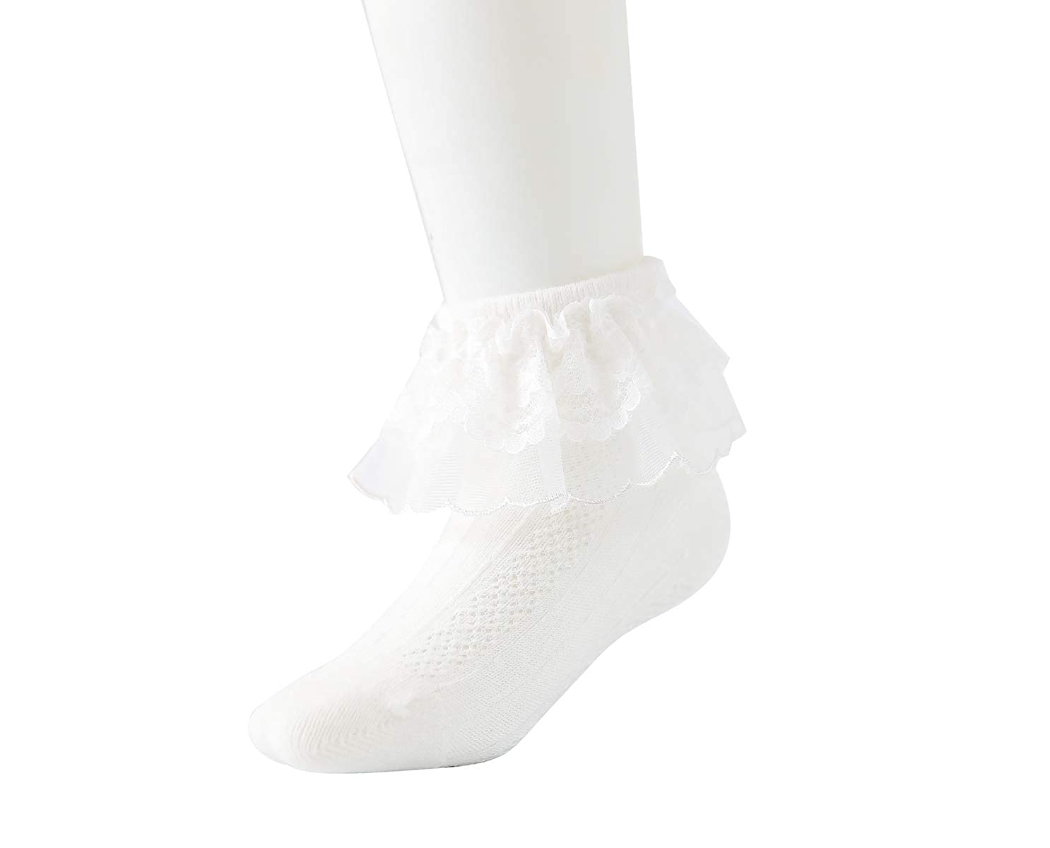 Baby Girls Wide Frilly Lace Low Cut Ankle Cotton Socks Christening Wedding