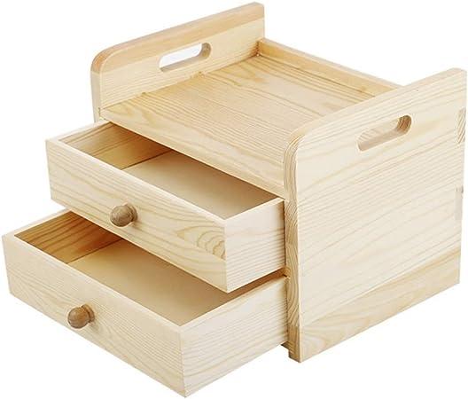 Organizador de escritorio Caja de almacenamiento de cosméticos Caja de escritorio de madera maciza Caja de cajones de madera Organizador de almacenamiento de escritorio multipropósito Para la oficina: Amazon.es: Hogar