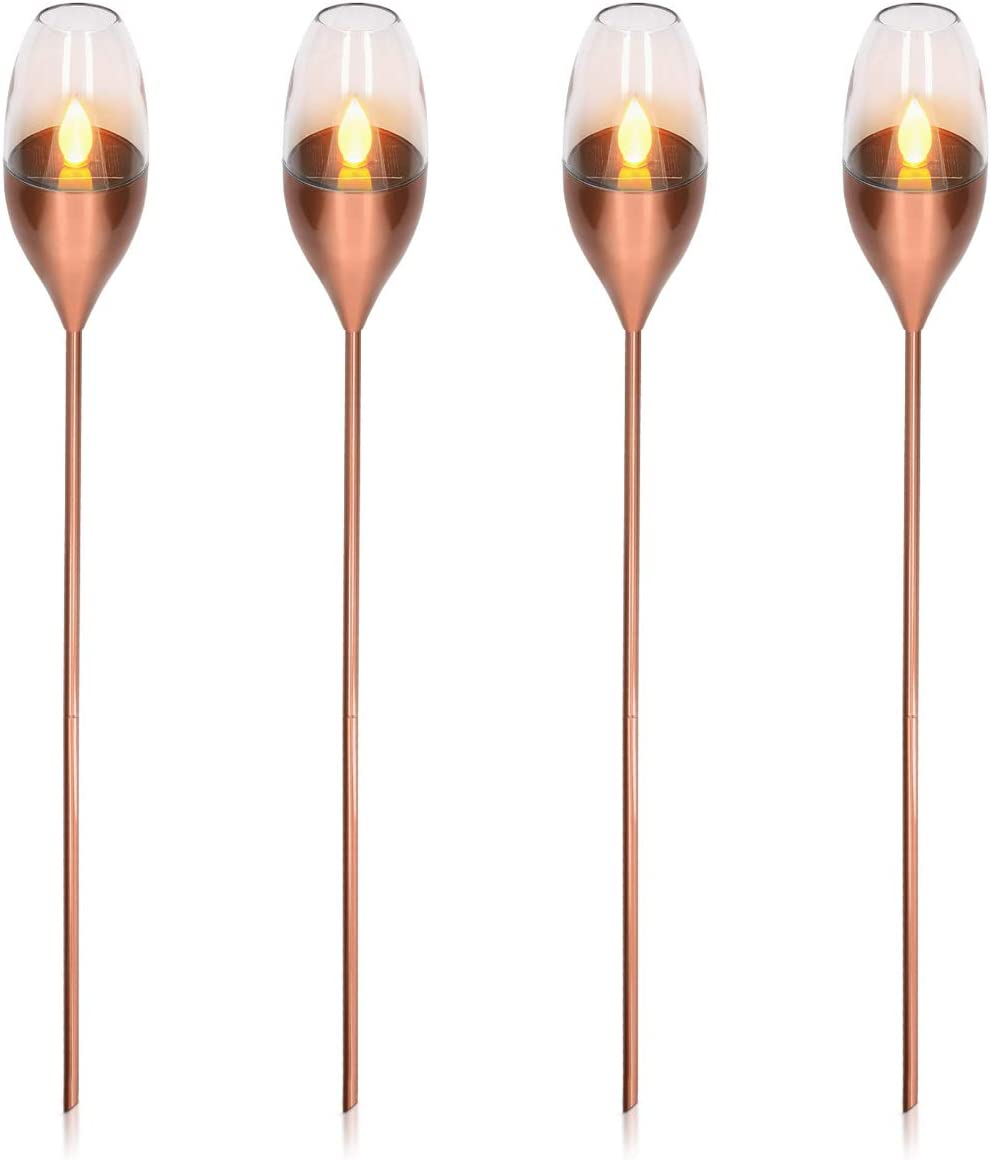 112cm LED Garden Pathway Lighting with Flickering Flame Effect and Auto On//Off Sensor Copper Navaris Outdoor Solar Torch Lights 4-Pack