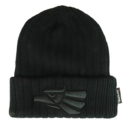Trendy Apparel Shop Hecho En Mexico Eagle Embroidered 3M Thinsulate Fleece Lined Beanie - Black Black - Embroidered Lined Beanie