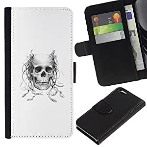 All Phone Most Case / Oferta Especial Cáscara Funda de cuero Monedero Cubierta de proteccion Caso / Wallet Case for Apple Iphone 6 // Horned Medusa Skull