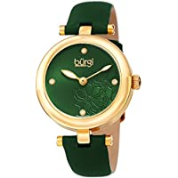 Burgi Women's BUR197GN Diamond Accented Flower Dial Yellow Gold & Green Leather Strap Watch