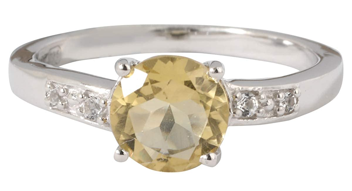Banithani Citrine 925 Sterling Silver Ring For Women Gemstone Rings Finger Band Jewelry