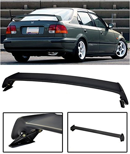 (Extreme Online Store for 1996-2000 Honda Civic 4Dr Sedan | EOS Mugen Style JDM ABS Plastic Primer Black Rear Trunk Lid Wing Spoiler)