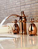 qiuxi Unique bathroom taps Widespread Two Handles Three Holes in Rose Gold Bathroom Sink Faucet , golden brown