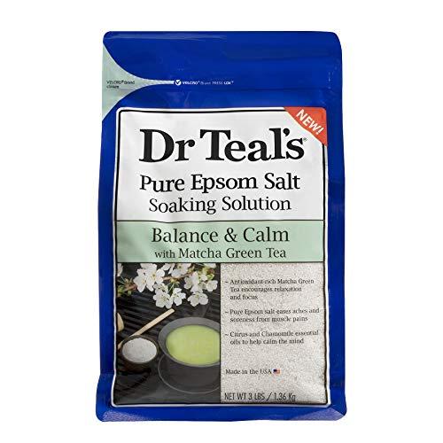 - Dr. Teal's Epsom Salt - Matcha Green Tea Mineral Soak, Balance & Calm, 3 pounds each bag (Pack of 4)