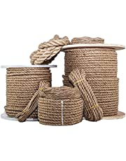 Twisted Jute Rope - SGT KNOTS - Thick Heavy Duty 3 Strand Jute Ropes - Strong All Natural Jute Fibers - for Crafts & Crafting, Garden & Gardening, Bailing, Packing, Survival, Home Decor