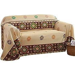 Aztec Southwest Furniture Throw Cover Large Sofa, Beige, Large Sofa