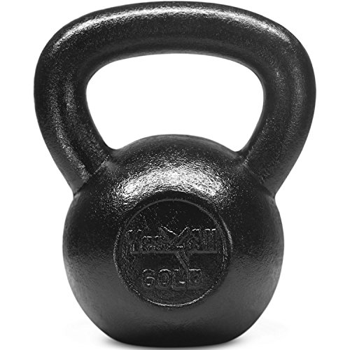 Yes4All Solid Cast Iron Kettlebell Weights Set - Great for Full Body Workout and Strength Training - Kettlebell 60 lbs (Black)