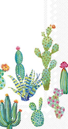Ideal Home Range Bulk Count 3-Ply Guest Towel Dinner Buffet Paper Napkins, My Little Green Cactus (32 Count: 2 Packages of 16 -