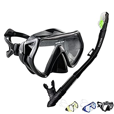 WACOOL Snorkeling Package Set for Adults, Anti-Fog Coated Glass Diving Mask, Snorkel with Silicon Mouth Piece,Purge Valve and Anti-Splash Guard,.