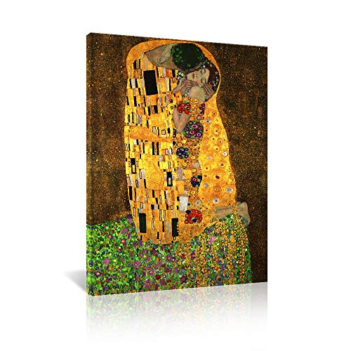 JAPO ART The Kiss, by Gustav Klimt Giclee Printed on Canvas Stretched Gallery Wrapped Wall Picture for Living Room Bedroom Ready to Hang 12 x16