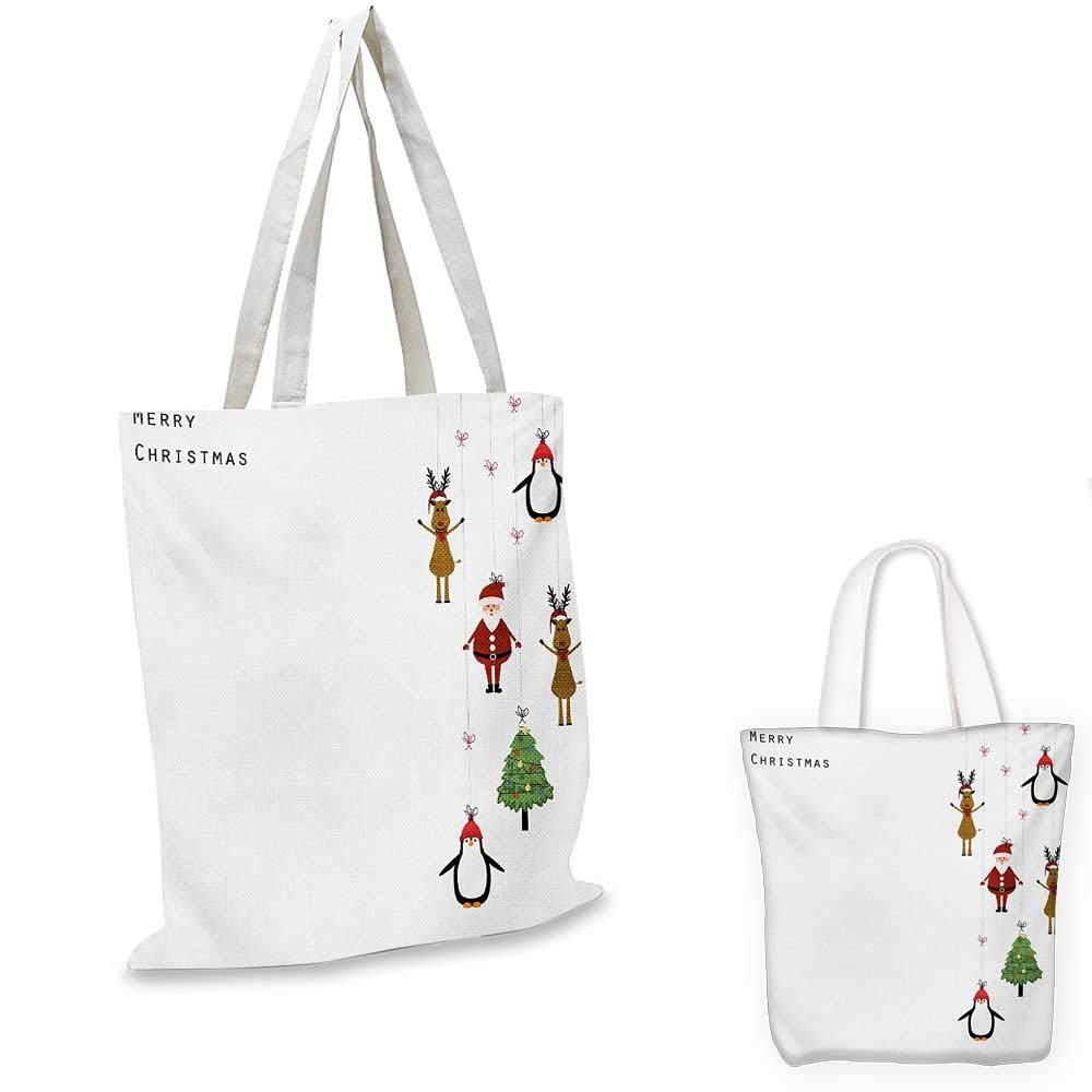 Christmas canvas messenger bag Vintage Merry Xmas Wreath with Several Noel Yule Icons and Ribbons Candles Bells Image canvas beach bag Red 12x15-10