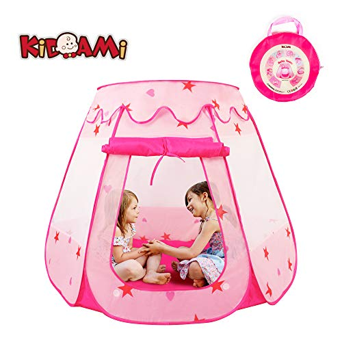 (KIDAMI Pop Up Pink Princess Play Tent for Girls, No Assembly Required with Easy Storage Carry Case, Convenient Playhouse for Pretend Play Indoor & Outdoor, Use as Children Play Tent or Ball Pit)