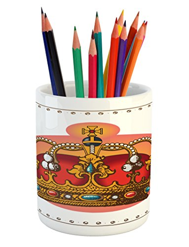 Ambesonne Queen Pencil Pen Holder, Victorian Baroque Style Crown Design Coronet Adornments Engravings Emperor Monarch, Printed Ceramic Pencil Pen Holder for Desk Office Accessory, Multicolor