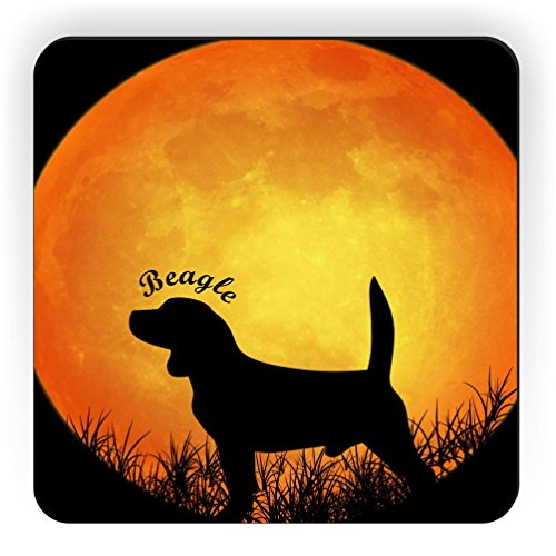 Rikki Knight Beagle Dog Silhouette By Moon Design Square Fridge Magnet (Dog Silhouette Magnet)
