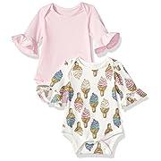 Rosie Pope Baby Girls Newborn 2 Pack Flutter Bodysuit, Ice Cream, 0-3 Months