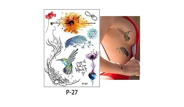 adgkitb 3 Piezas Flor pájaro calcomanía Falso Mujeres Hombres DIY ...