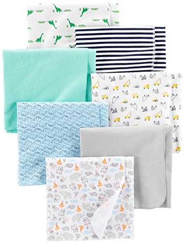 - Simple Joys by Carter's Baby Boys' 7-Pack Flannel Receiving Blankets, Trucks/Animals/Dino/Whales, One Size