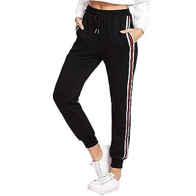 d36a6b0c3fd2d Pantalon Femme,SANFASHION Pants Sarouel Taille Haute élastique à Rayures Pantalons  Jogging Sport(Noir