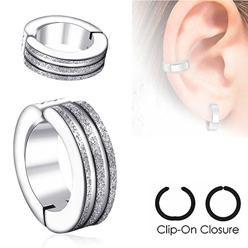 U2U Pair of Surgical Stainless Steel Non-Piercing Clip On Earrings with Brushed Finished Middle Strip