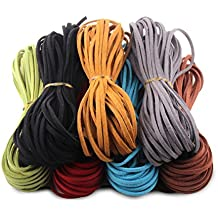Micro-Fiber Flat Leather Lace Beading Thread Faux Suede Cord String Velet( Mix 7 Colors Each 10 Yards)