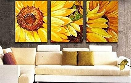 100% Hand Painted Oil Painting 3 Piece Yellow Sunflower Wall Art Group  Painting Canvas Art