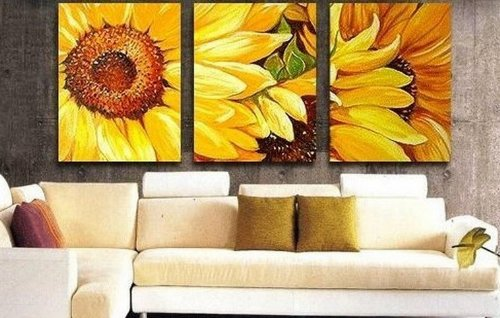 Amazon.com: 100% Hand Painted Oil Painting 3 Piece Yellow Sunflower ...