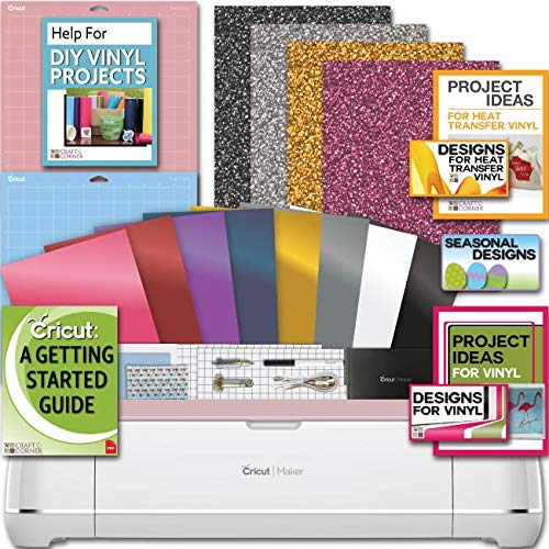 Cricut Maker Machine Bundle 4 Smooth Heat Transfer Permanent Vinyl Designs ()
