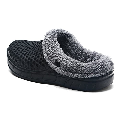 SUO amp; Women House Couple Use Z on Black Slippers Lining Clog for Plush Unisex Indoor Slip Men Shoes Outdoor SAWddq