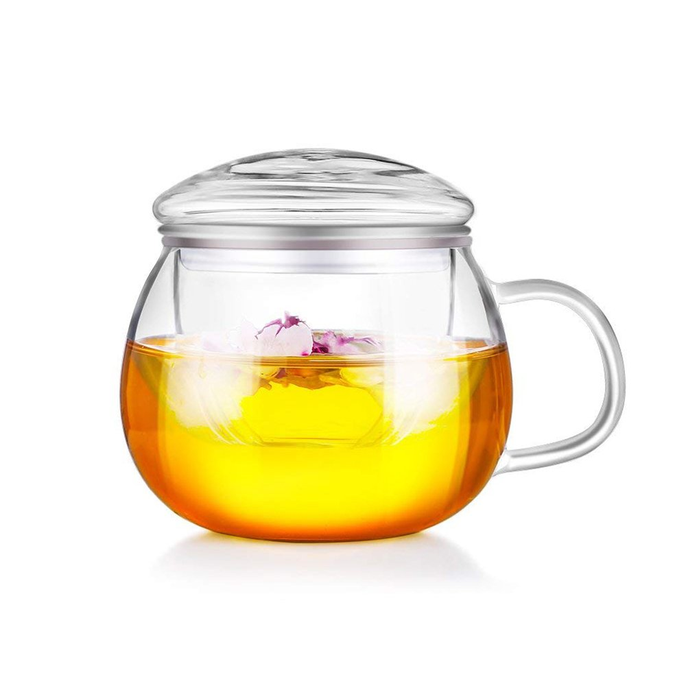 Dealglad 300ml Heat Resistance Clear Glass Tea Cup Coffee Milk Juice Mug Flower Teacup with Infuser and Lid (Convex Lid)